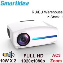Smartidea projetor 1080p 4k full hd, android 9.0 opcional, 1920x1080p resolução 6500 lúmen, led projetor home theater, 3d beamer