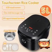 5L Electric Rice Cooker Kitchen Large Capacity Rice Cook Machine Intelligent Appointment LED Display Cooker with Sugar Filter