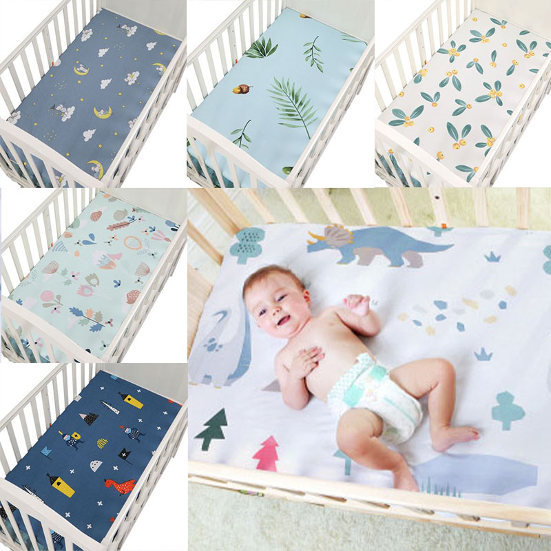 100% Cotton Baby Crib Fitted Sheets Soft Newborn Toddler Bed Mattress Cover Protector Cartoon Newborn Bedding Breathable
