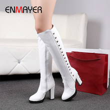 ENMAYER Square Heel Over-the-Knee PU White Boots Women Winter Shoes Solid Rubber Rivet Booties 2018 Woman Combat for