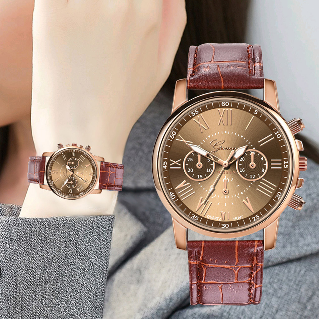 2020 Luxury Women's watches Ladies Quartz Wrist Watch Dress Fashion Faux Leather Dial Band Watch for women relogio feminino