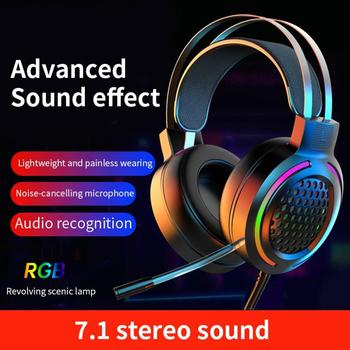 Gaming Headset 7.1 Surround Sound USB 3.5mm Wired RGB Light Gaming Headphones With Microphone For Ta