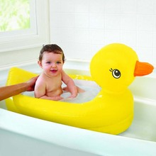 Foldable Baby Cartoon Cute Yellow Duck Design Folding Bath Child Inflatable Swimming Pool Thickened PVC Bathtub cute inflatable advertising duck