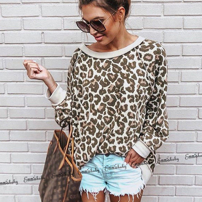 Fashion Long Sleeve Loose Leopard Tops Lady Winter Warm Streetwear Sweater Casual Women Blouse Pullover Korean Clothes