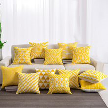 Yellow Cushion Towel Embroidered Pillow Set Soft Chain Cushion Pad Geometric Embroidery Cotton Pillow Comfortable  Decoration