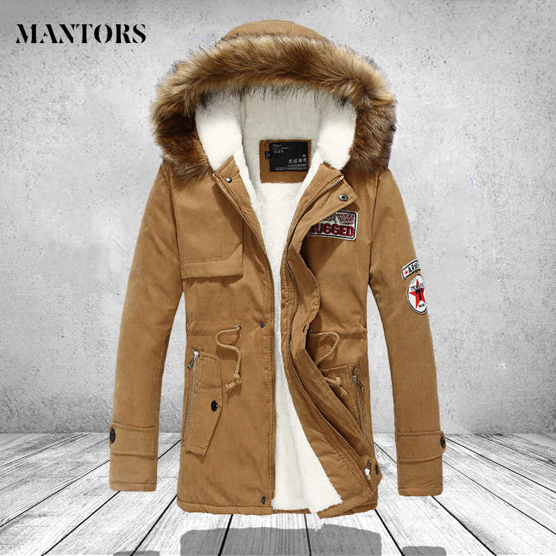 Zipper Men Jackets Coats Winter Casual Fleece Coat Army Khaki Bomber Jacket Fur Hooded Hoodies Fashion Slim Fit Long Male Parka