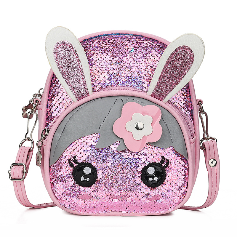 Pudcoco Cute Kids Baby Girls Mini Backpack School Bag Toddler Girls Sequin Rabbit Schoolbag Backpack Shoulder Bag Satchel Travel