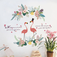 цена на Romantic Flamingo Flower Wall Stickers Home Decor Living Room Bedroom Decoration DIY Poster Mural Art Decal