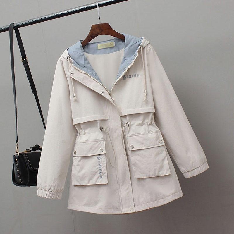 2020 New Women Jackets Zipper Pockets Casual Long Sleeves Coats Autumn Hooded Jacket Windbreaker Female Basic Coat Plus Size 4XL