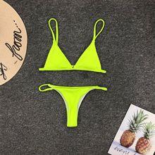 Low Waist Bikinis Women Mujer Mini Neon Yellow Bikini Brazilian Sexy Halter Bathing Suit Swimwear Push Up Bathers Beach Swimsuit