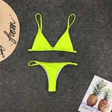 Bikinis de cintura baja para Mujer, Mini Bikini brasileño de Amarillo Neón, traje de baño Sexy con cuello Halter, bañadores de realce para playa