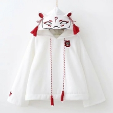 Japan Fox Womens Autumn Long Sleeve Shirt Embroidery Coat White Pullover Top