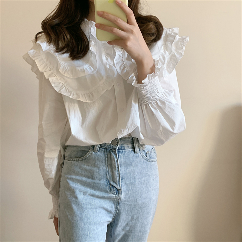 H1468d62e6c9e48628d58c3e3eecbc1b1G - Spring / Autumn Double-Layer Ruffle Collar Long Petal Sleeves Loose Blouse