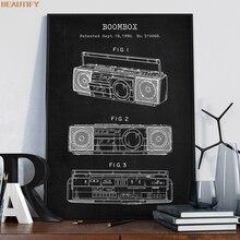 Cuadro de lona Boom Box reproductor de Cassette arte Poster impresiones de imágenes decoración del hogar Vintage Blueprint regalo idea música Decoración
