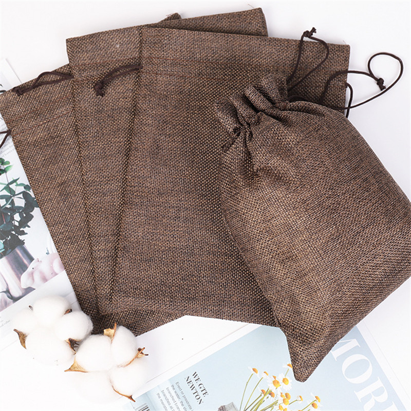 5Pcs Linen Drawstring Pouch Bag Logo Printed Jute Pouch Christmas/Wedding Party Bags Bp229