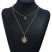 Fashion Maple Leaf Necklace Multilayer Rhinestone Special Leaves Pendant for Women Charm Long Chain Jewelry Bijoux Gift