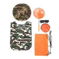 야외 어린이 모험 키트 플라스틱 모자 아이 자 켓 플라스틱 접는 양동이 그물 가방 안경 휴대용 야외 탐험 키트