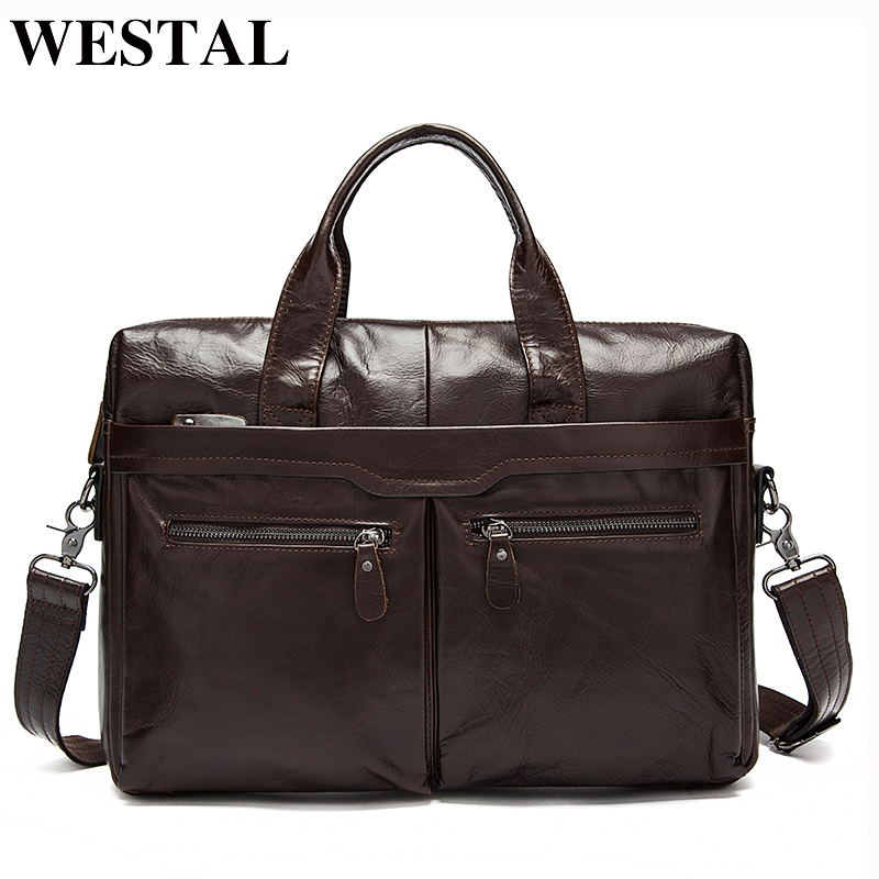 WESTAL Men Briefcase Bag For Men Men's Genuine Leather Bags Business Briefcase Messenger Laptop Bag Leather Lawyer/Office Bags