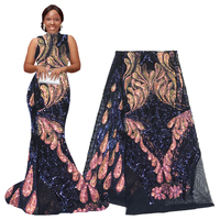 Navy Shiny African Lace Fabric 2020 High Quality Sequin Lace Fabric for Women Nigerian Aso Ebi Wedding Dresses Lace Fabric