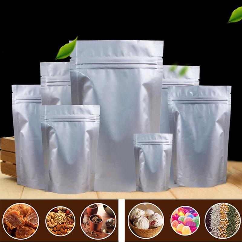 100Pcs/Lot Tea Bag White Flat Open Top Aluminum Foil Bag Vacuum Heat Seal Packaging Pouches Food Coffee Tea Mylar Foil Bag
