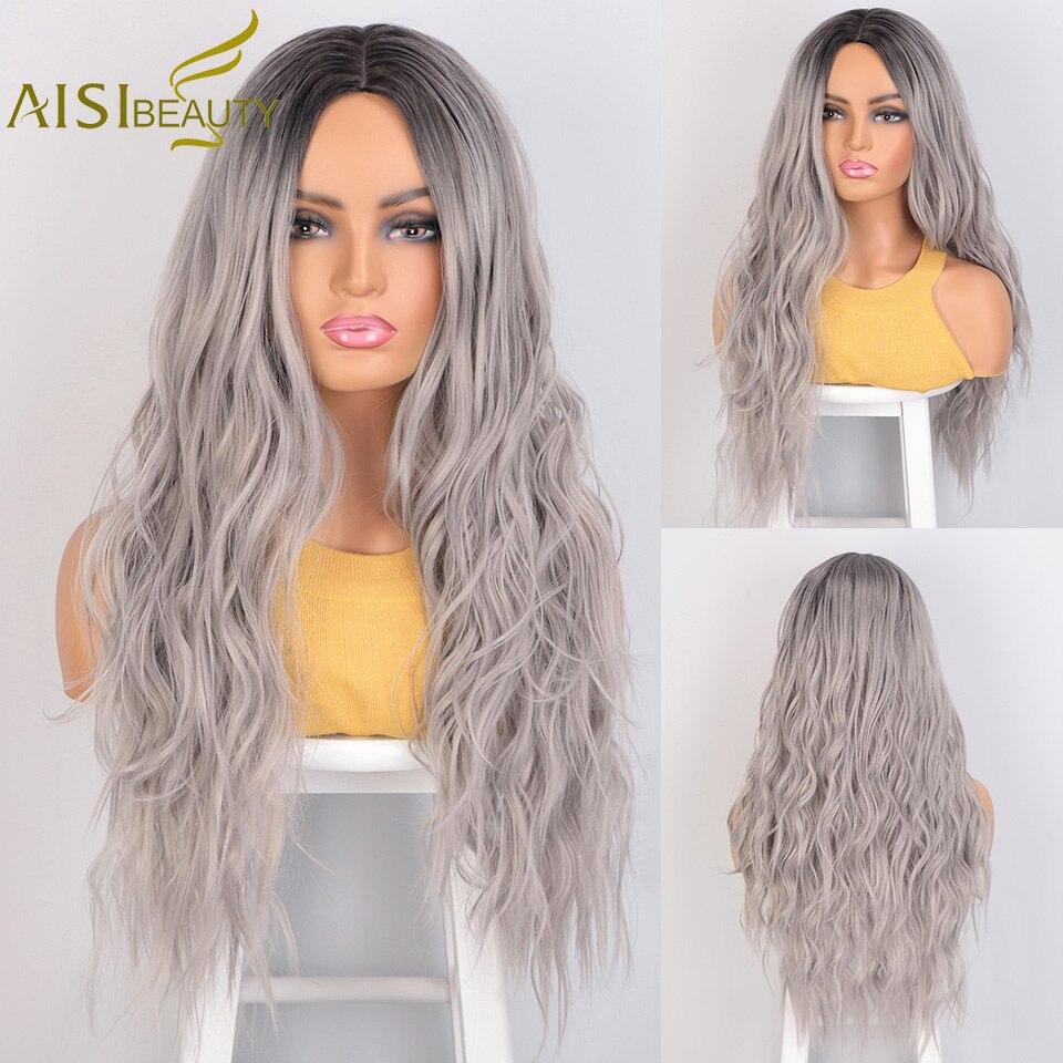 Aisi beleza longo ondulado perucas sintéticas cinza