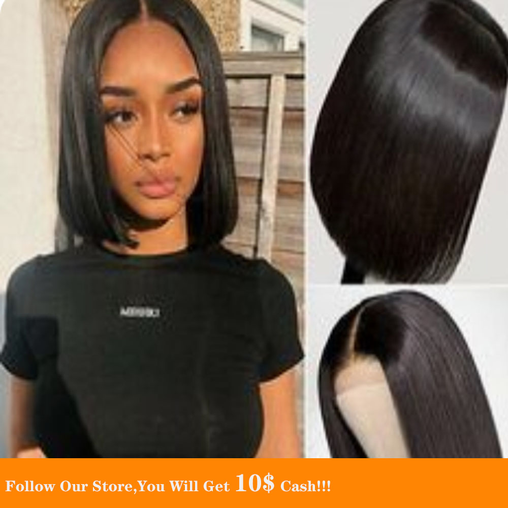 13x6  Lace Front Human Hair Wigs  Short Black Straight Transparent Lace Wigs 180 Density Natural Pre Plucked With Baby Hair