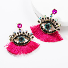Lukeni Bohemian Tassel Eye Drop Earring For Women Wedding Trendy Crystal Glass Girl Gift Party Statement Earrings Accessories
