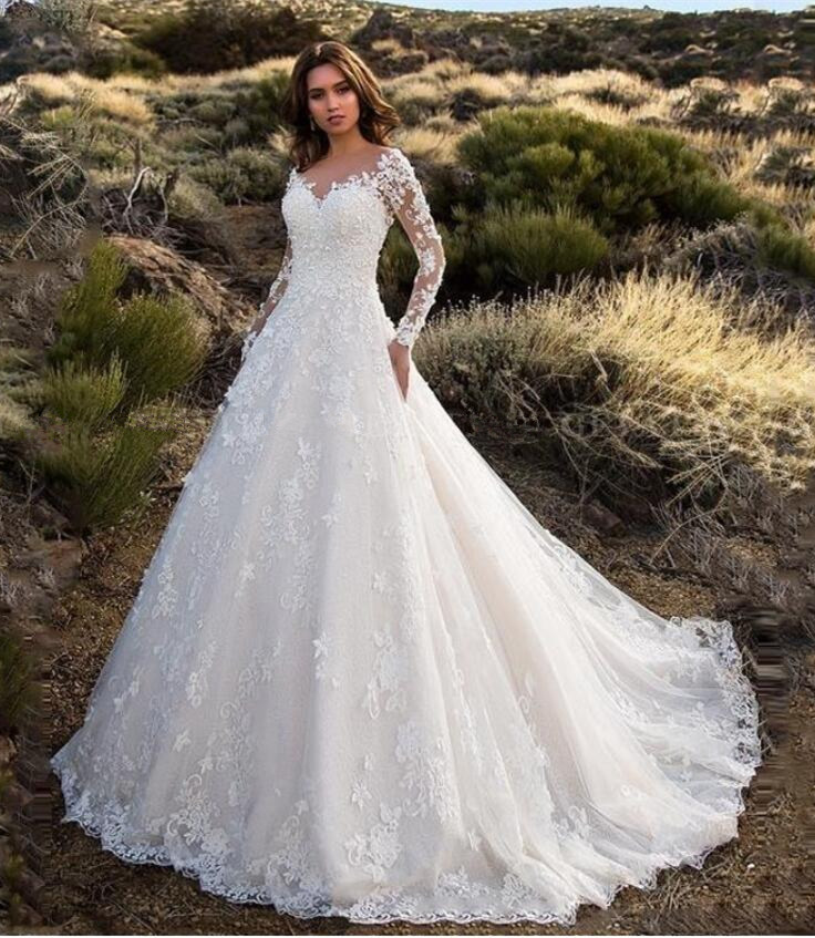 Long Sleeves Appliques 3D Flowers Backless Bridal Gowns Country Style Long Wedding Dress Vintage Lace Ball Gown Wedding Dresses
