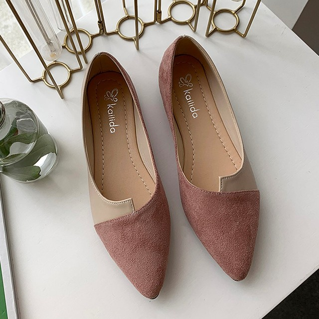 2020 New Flat Shoes Women Sweet Flats Shallow Women Boat Shoes Slip on Ladies Loafers Spring Women Flats Pink Platform Shoes 1