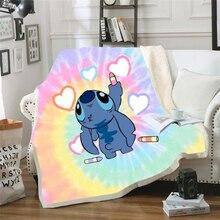 Throw blanket Cartoon Lilo & Stitch 3D Velvet Plush Blanket Bedspread For Kids Girls Sherpa Blanket Couch Quilt Cover Travel 05