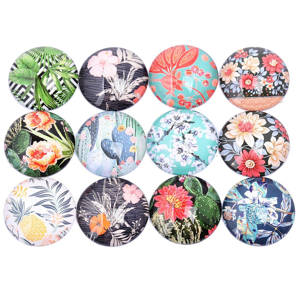 Reidgaller Mixed Floral Pattern Photo Glass Cabochons 12mm 16mm 20mm 25mm 30mm Diy Jewelry Making Components