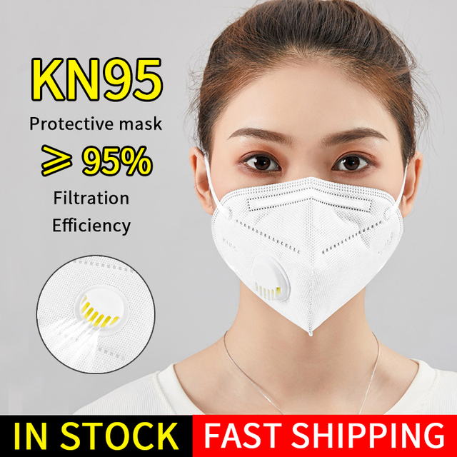 100pcs KN95 Masks Protective Dust Face Mask Flu Pm2.5 Filter Mask N95 Mask Respirator Antivirus Mask as KF94 FFP2 FFP3