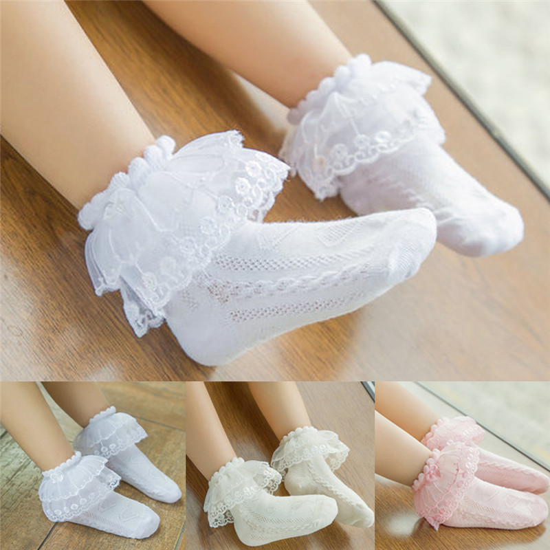 Free Shipping Summer Kids Baby Girl Lace Ruffle Socks Tutu Frilly Ankle Princess Anti Slip Socks White Pink Beige 2-12Y
