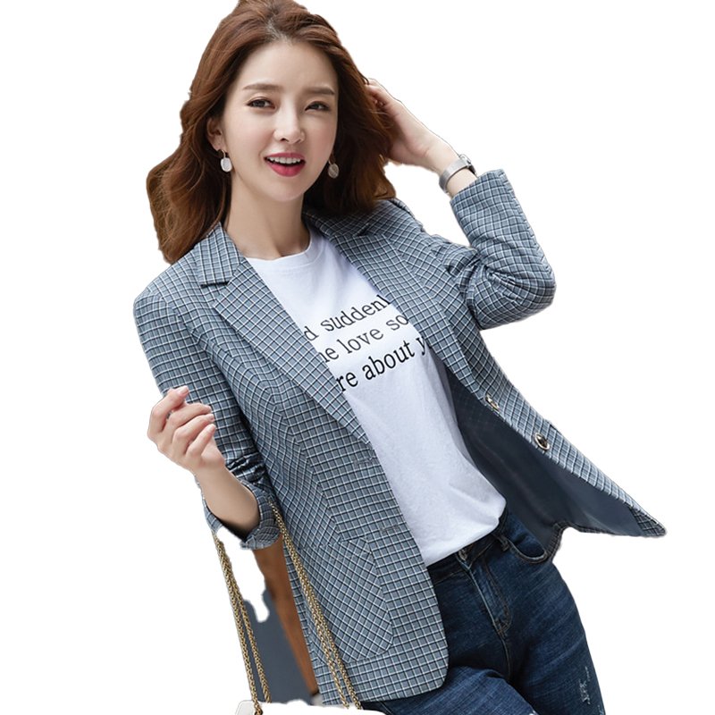 Female Elegant Formal OL Casual Women Green Gray Brown Plaid Blazer New Outwear Coat Jackets Long Sleeve Slim Blazer and Jackets