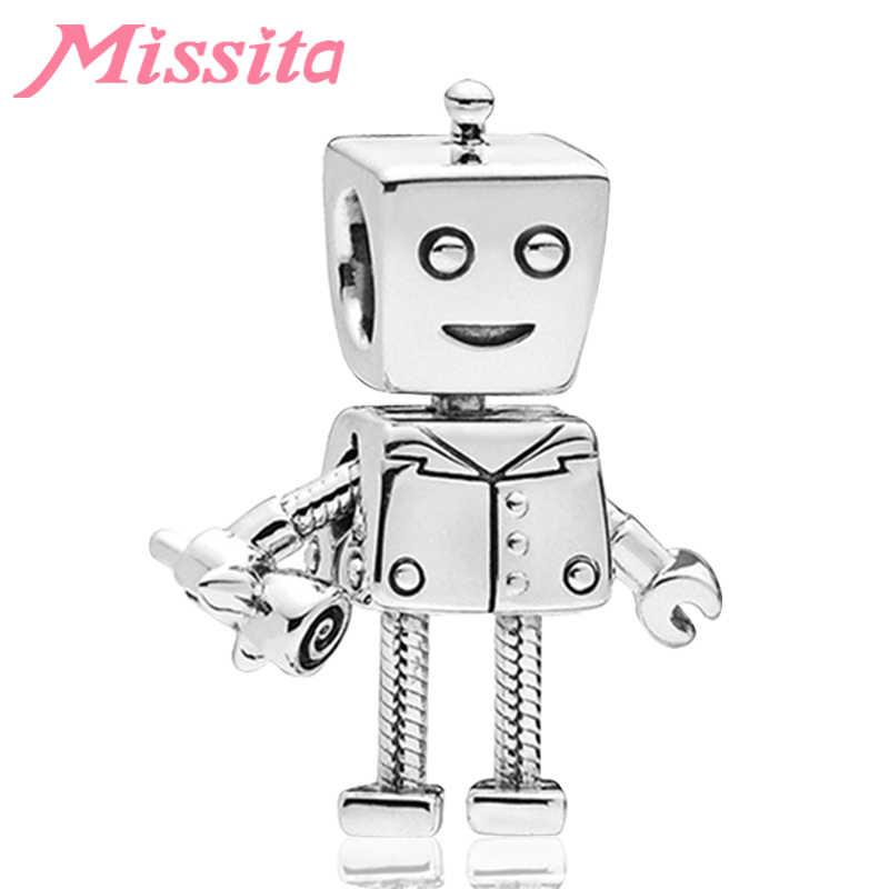 MISSITA מדע בדיוני רובוט חרוזים fit פנדורה קסמי צמיד שרשרת לנשים תכשיטי ביצוע גבירותיי תכשיטי אבזרים