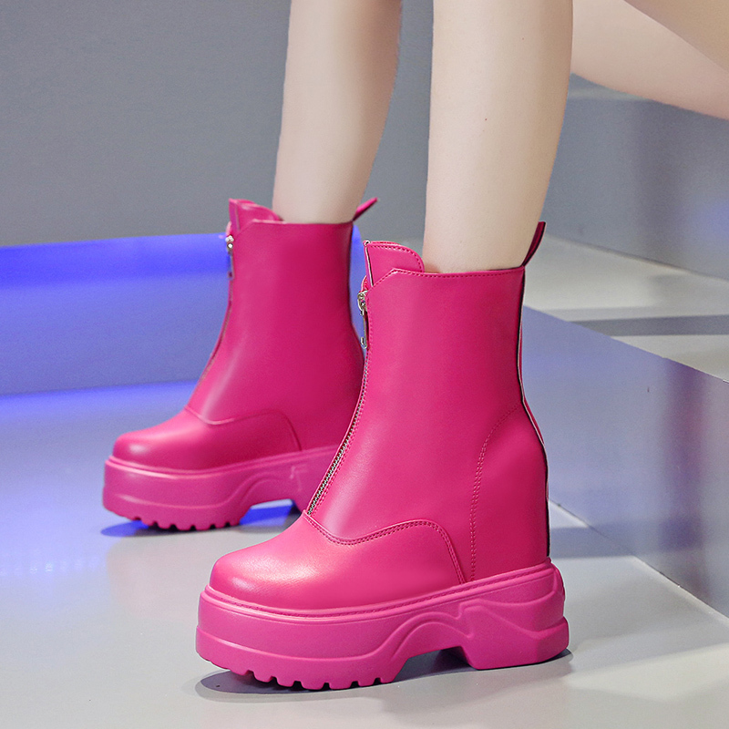 Women Colorful Ankle Boots 2019 Platform High Top Sneakers 10CM Wedge Heels Autumn Zipper Boots Thick Sole Leather Winter Boots in Ankle Boots from Shoes