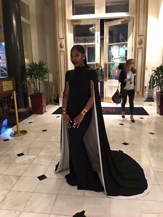 Купить с кэшбэком 2019 Floor Length Black Evening Dresses with Capes abiye Mermaid High Neck Arabic robe de soiree Formal Party Prom evening dress