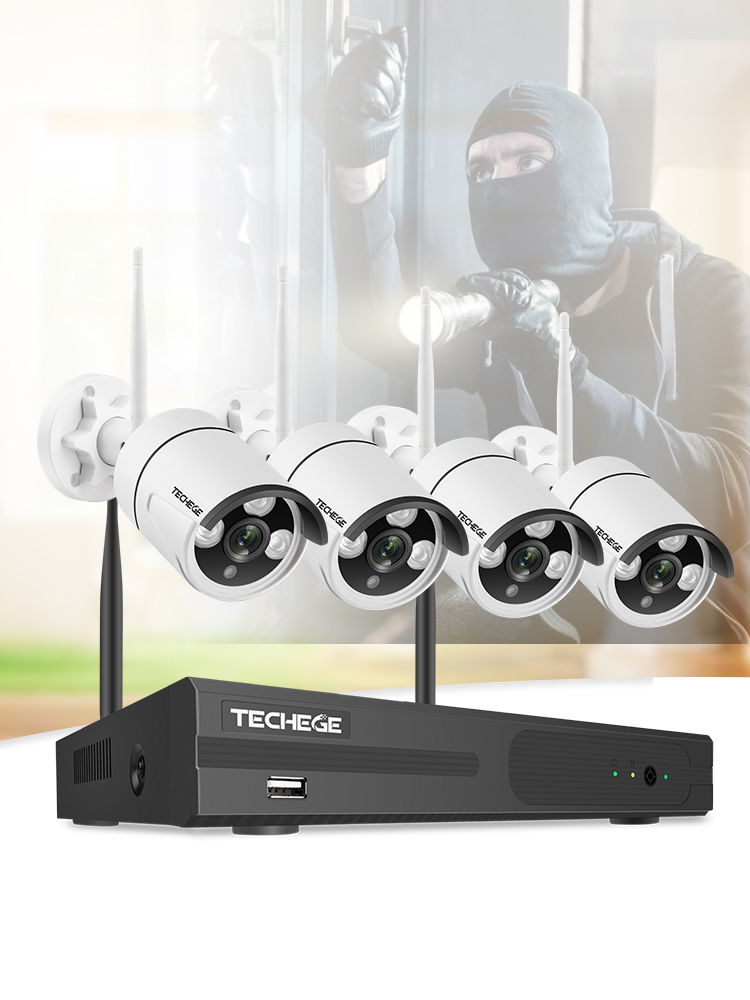 Techege System Surveillance-Camera-Kit 2mp-Security-System-Kit Video Outdoor H.265 1080P