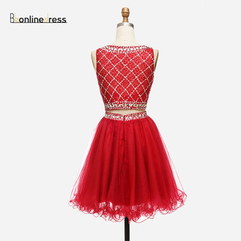 Free Shipping Homecoming Dress Tulle Two Pieces Girl Party Wear Cocktail Dresses Crystal Beaded Charming graduation robes 2