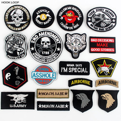 Asshole Airbone Army Badges Hook Loop Patches Skull Wolf Tactical Emblem Appliques for Hat Backpack Cloth Decoration
