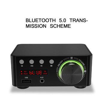 TiOODRE wzmacniacz mocy Bluetooth Mini HIFI wzmacniacz Bluetooth dźwięk cyfrowy wzmacniacz wzmacniacz Stereo obsługuje USB karty TF tanie i dobre opinie 4Ω-16Ω Bluetooth Power Amplifier 50W + 50W Bluetooth 5 0 at least 12m Plastic metal Wzmacniacze 160g Support USB and TF Card