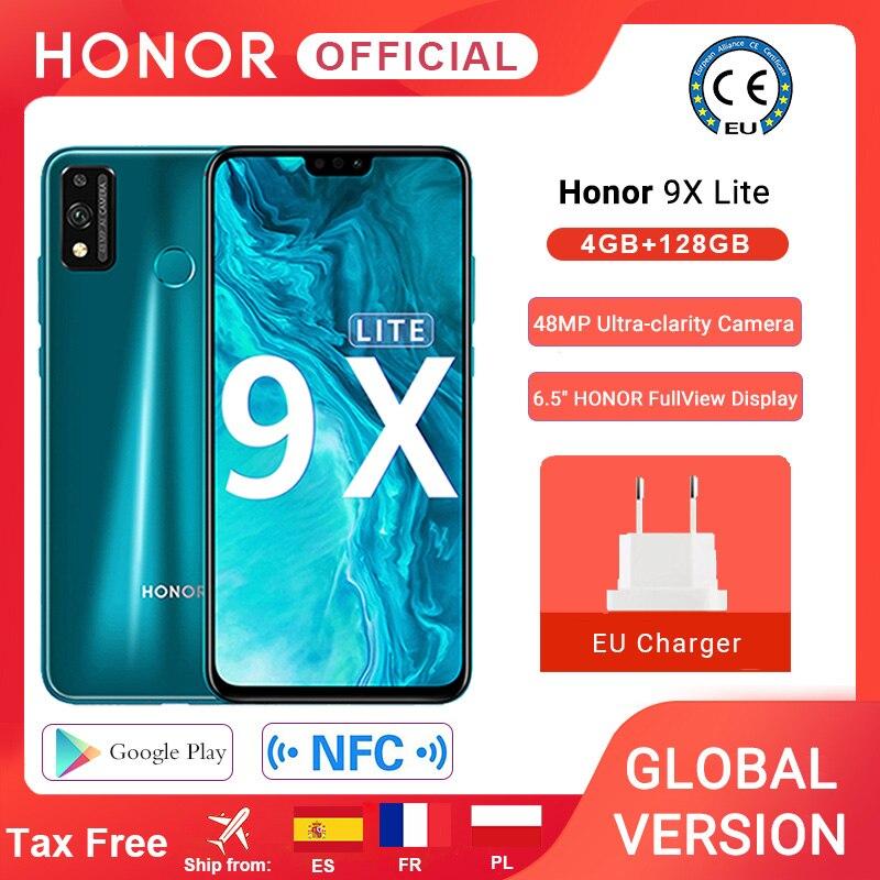 Global Version Honor 9X Lite Smartphone 4G 128G 48MP Camera Kirin 710 6.5'' Mobile Phone Android P GPU Turbo 3.0 NFC 1