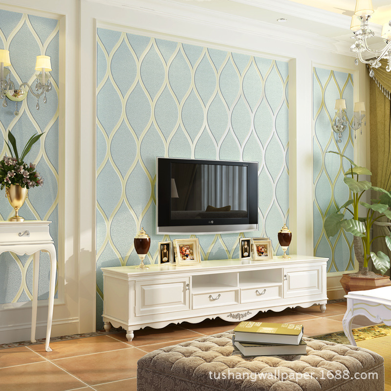 Wallpaper European Style TV Backdrop Wallpaper 3D Nonwoven Fabric Modern Minimalist Wallpaper Bedroom Living Room Thick Suede