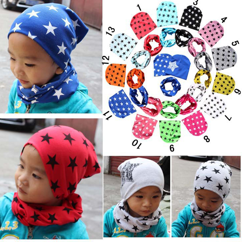 Hats Cap Autumn Winter Girls Tops Boys Scarf Hats Scarf New Stars Solid Crochet Style Warm Hat Scarf