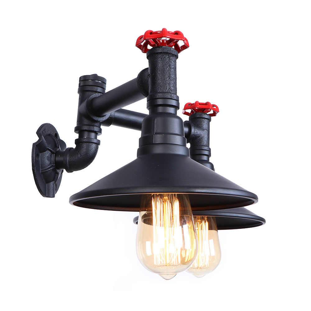 Черный железный водопровод двойной настенный выключатель света светодиодный настенный светильник Лофт Декор светильники Эдисона Настенный бра винтажный прикроватный Домашний Светильник