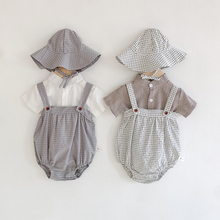 Summer Plaid Baby Bodysuits and Blouse 2 pcs New 2020 Fashion Baby Clothing Little Pumpkin Infant Girls Boys Clothes Set