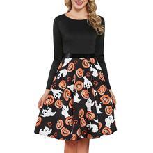 Платье с принтом тыквы на Хэллоуин женское винтажное платье