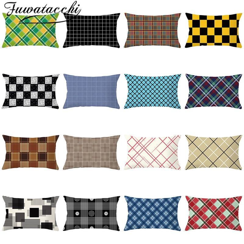 Fuwatacchi noël Plaid taie d'oreiller géométrique housse de coussin Polyester taie d'oreiller pour canapé décoratif coussins 30*50