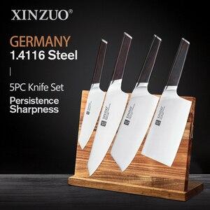Image 1 - Xinzuo 4 pçs facas de cozinha conjunto aço inoxidável profissional cozinhar chef osso chopper cutelo carne utilitário faca ébano lidar com