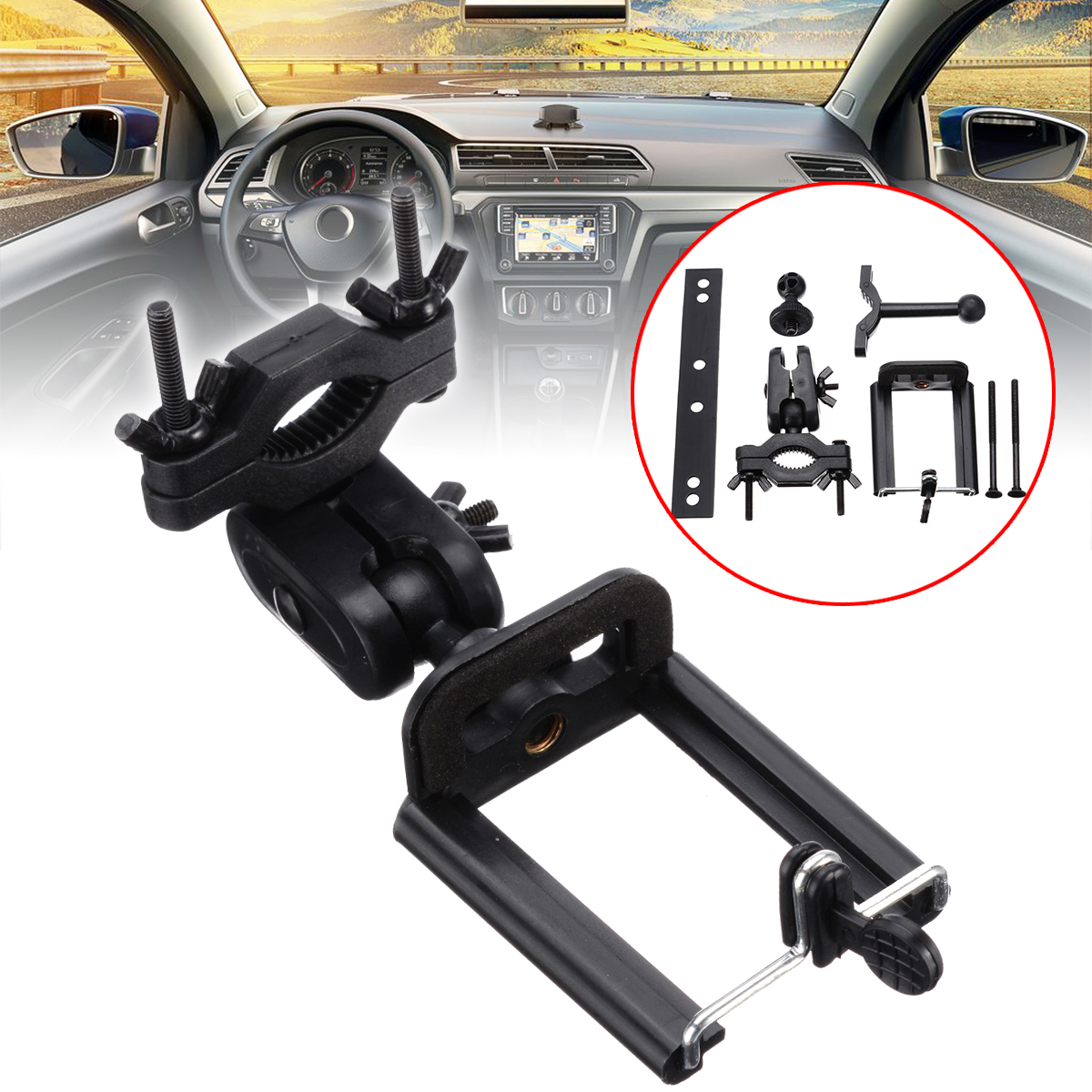 Universal 360 Degree Cell <font><b>Mobile</b></font> Smart <font><b>Phone</b></font> Support Stand Holder <font><b>Car</b></font> Rearview Mirror Mount Stand Holder Clip GPS <font><b>Accessories</b></font> image
